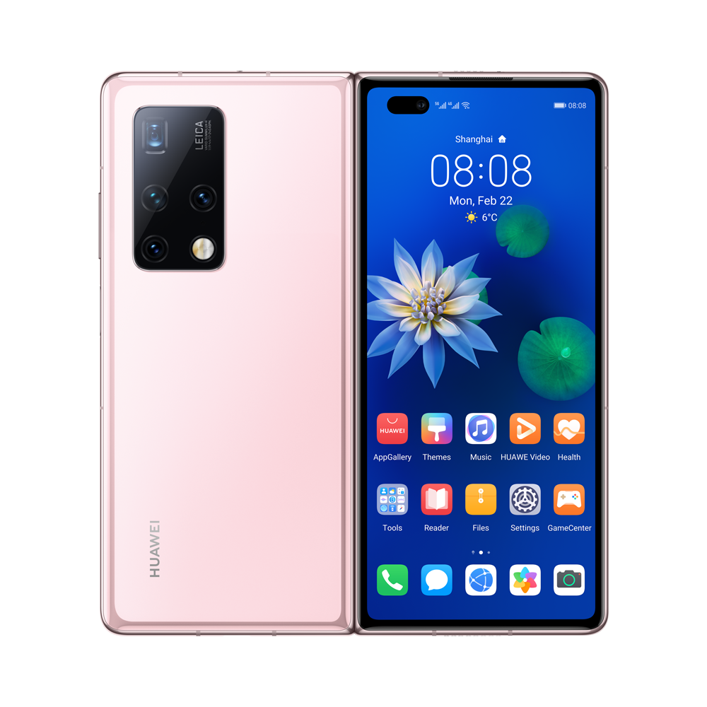 Huawei Mate X2 új generációs, zászlóshajó okostelefon vadonatúj, kompakt kialakítással, szándékosan eltolt tömegközépponttal, nagy szilárdságú acél és szénszálas kompozit készülékházzal, Ultra Vision Leica Quad kamerarendszerrel és Kirin 9000 5G chipkészlettel és az 55 W-os gyorstöltést támogató 4500 mAh-s akkumulátorral